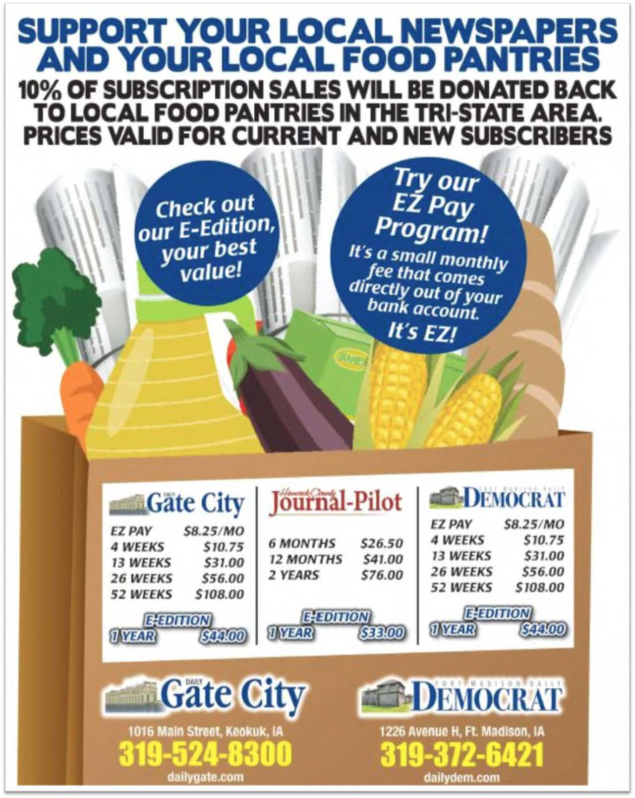 Idea #43 of 50 Days of Ideas! SUPPORT YOUR LOCAL NEWSPAPERS & LOCAL FOOD PANTRIES!
