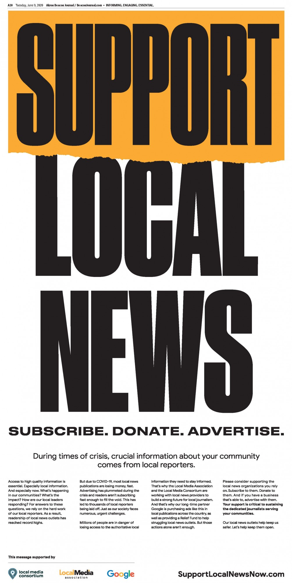 Idea #45 of 50 Days of Ideas! SUPPORT LOCAL NEWS INITIATIVE!