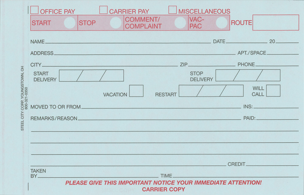 Three-Part Stop/Start NCR Form